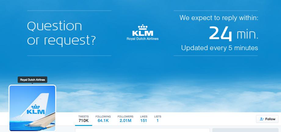 Baromètre Digital Maniak : Bannière Twitter de KLM